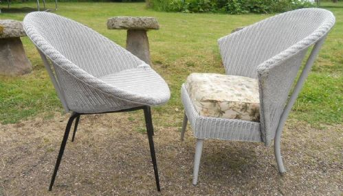 Two Retro Style 1950's Lloyd Loom Armchairs